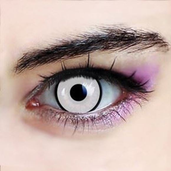 Picture of White Contact Lenses Zombie Costume Halloween 1 Pair (2 pcs) Party wear- White with black rims -Free delivery